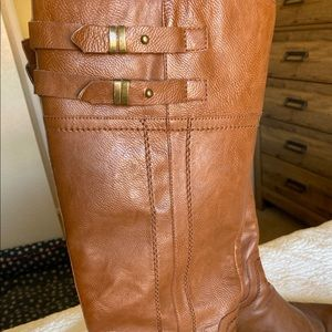 Brown tall riding boots
